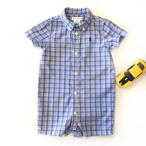 Ralph Lauren Blue Plaid One Piece Romper Size 12M